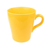 Yellow mug cup for coffee tea water on white background Royalty Free Stock Image