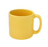 Yellow mug empty blank cutout. Yellow mug empty blank isolated on white background with clipping path Stock Photography