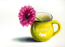Yellow mug with flower Royalty Free Stock Image