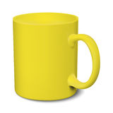 Yellow mug realistic 3D mockup on a white background. Vector illustration Royalty Free Stock Photo