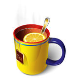 Yellow mug of tea. Mug with tea and lemon. A spoon. Tea bag Stock Images