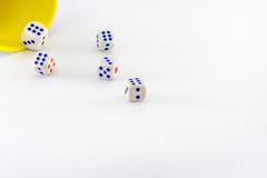 Yellow mug with white dice in action. Stock Photo