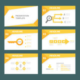 Yellow multipurpose infographic element flat design set for presentation. Yellow Business multipurpose infographic element templates flat design set for brochure Royalty Free Stock Image