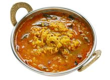 Yellow mung dal curry in kadai. On white background Royalty Free Stock Image