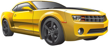 Yellow muscle car Stock Photography