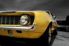 Yellow Muscle Car stock photos