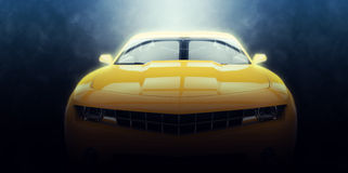 Yellow muscle car - epic lighting Stock Photography