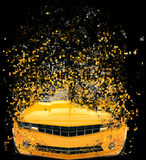 Yellow muscle car - pixel destruction. Illustration Stock Image