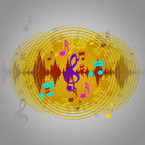 Yellow Music Background Means Discs Playing Or Tune Stock Photos