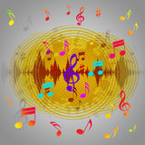 Yellow Music Background Shows Records Piece Or Melody Stock Photo
