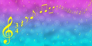 Free Yellow Music Notes In Blue And Pink Gradient Banner Background Stock Photos - 157451963