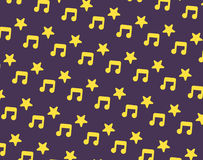 Yellow music and star icon pattern Royalty Free Stock Images