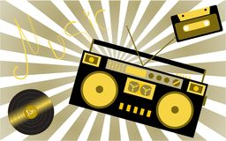 Yellow musical analogue retro old hipster vintage gramophone vinyl record, audiocassette, musical tape recorder from the 80s 90s a royalty free illustration