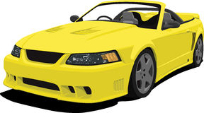 Yellow Mustang Convertible Sports Car Royalty Free Stock Photography