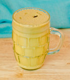 Yellow mustard in a jar Stock Photography