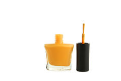 Yellow nail polish bottle isolated on white. Stock Photos
