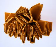 Yellow napkins set from up view angle. Different view for cloth Stock Photos