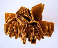 Yellow napkins set from up view angle. Different view for cloth Royalty Free Stock Photos