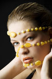 Yellow necklace mask Royalty Free Stock Photos