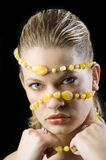 Yellow necklace mask Royalty Free Stock Image