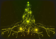 Yellow  neon Christmas tree. Background. Royalty Free Stock Photography
