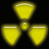 Yellow neon radioactive sign Royalty Free Stock Photos