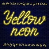 Yellow neon script. Uppercase and lowercase letters. Yellow neon script. Uppercase and lowercase letters .Vector illustration royalty free illustration