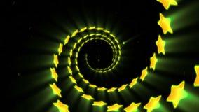 Yellow neon star shape. Glowing lines. Virtual reality tunnel. Flying futuristic modern stars. Loop animation. vector illustration