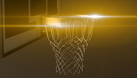 Yellow net of a basketball hoop on various material and background, 3d render. Sports background, basketball hoop net Royalty Free Stock Photography