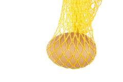 Yellow net with single egg Royalty Free Stock Photos