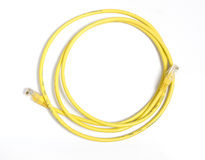 Yellow network cable Stock Images