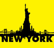 Yellow New York City skyline Statue of liberty Vector Stock Image