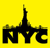 Yellow New York City skyline Statue of liberty Vector Royalty Free Stock Photos