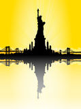 Yellow New York City skyline with Statue of liberty Vector Royalty Free Stock Image
