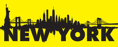 Yellow New York City Skyline Vector Royalty Free Stock Photos