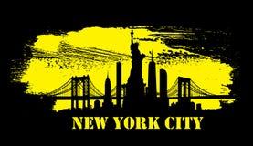 Yellow New York City skyline Vector Stock Image