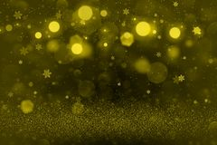 Yellow cute glossy glitter lights defocused bokeh abstract background with falling snow flakes fly, festival mockup texture with b. Yellow nice shiny abstract royalty free illustration