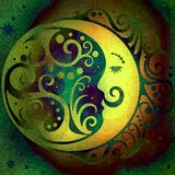 Yellow night moon,abstract shabby colored background Stock Image