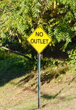 A yellow no outlet sign Royalty Free Stock Images