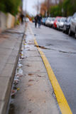 Winter rain road yellow line Stock Photography