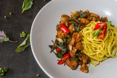 Close up Yellow noodle fried pork rind, chili tasting menu is worth a try. Thai style food. Yellow noodle fried pork rind, chili. Thai style food Royalty Free Stock Photo