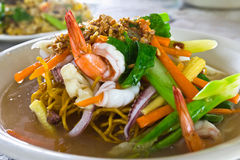Yellow noodle seafood Stock Photography