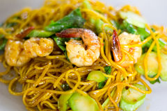 Yellow noodles fried. Is thai food Royalty Free Stock Photography