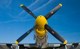 Yellow nose of a P-51 Mustang. Fighter airplane Royalty Free Stock Photo