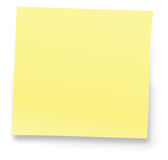 Yellow Note. Blank Yellow note. Isolated on white background Royalty Free Stock Images