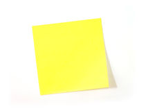 Yellow Note. Isolated On White Royalty Free Stock Images