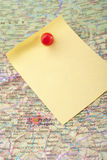 Yellow Note And Red Pin On Map Royalty Free Stock Photos