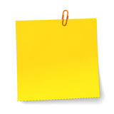 Yellow note with orange Paper clip. 3D render Royalty Free Stock Image