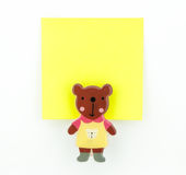 Yellow note pad with bear clip Stock Photography