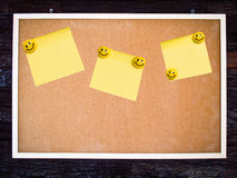 Yellow note pad on blank board Royalty Free Stock Photo